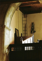 (paul messerschmidt (england)) Tags: uk greatbritain england west church parish gallery interior balcony rear july surrey upstairs v end tele inside ladder stmichaels 2011 mickleham 72011 film20112905