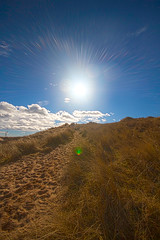 Newburgh beach 01/03/2015 (grumpybaldprof) Tags: sea sky sun colour beach nature grass clouds river point scotland sand aberdeenshire path north perspective reserve estuary sands vanishing newburgh ythan forvie