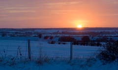 Winter Sunset (trusler_james) Tags: trees winter sunset sun white snow cold ice grass fence landscape countryside frozen northampton woods sony northamptonshire freezing sunny fields barbwire