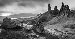 The Land That Time Forgot (Dave Fieldhouse Photography) Tags: morning blackandwhite mountains monochrome sunrise landscape outdoors scotland highlands rocks isleofskye dramatic boulders storr theoldmanofstorr stitchedpanorama