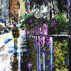The walk home (Lemon~art) Tags: street shadow woman reflection cars fence buildings person flora pavement walk manipulation photomontage