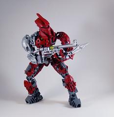 MOV - Banserko (0nuku) Tags: bionicle lego toa sand fire stone banserko mazzal scythe gunblade hau komau