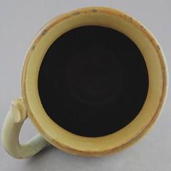 Garlic Gentlemen's Mug - Top View (Ryan McCullen) Tags: mug cup coffee tea coffeecup coffeemug teacup garlic ashglaze clay ceramic stoneware pottery handmade wheel wheelthrown functional home green yellow top