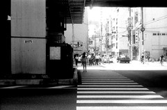 (isolated island) (Dinasty_Oomae) Tags: arco arco35  35   monochrome blackandwhite blackwhite outdoor street tokyo   taitoku  crosswalk   road  summer
