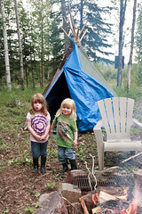 072016 - Reacting to Jeanette's side directing (Nathan A) Tags: alaska ak fairbanks salcha summer fun play outdoors sisters twins weenieroast bratwurst hotdog fire campfire tipi teepee