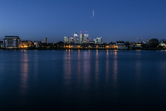 Pitch Blue (m2nemes) Tags: city uk england urban london thames night buildings river lights boat greenwich bluehour canarywharf cityline potd:country=gb