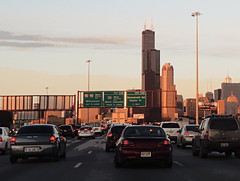 Rush hour on the Dan Ryan (yooperann) Tags: signs chicago tower cars dan lights traffic jane dusk ryan sears tail rush hour expressway willis byrne congestion interchange i94 chicagoist