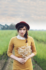 vintage (caras.muffin) Tags: autumn portrait woman color nature girl beautiful yellow photoshop vintage 50mm pentax retro hut selftaught