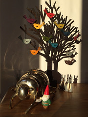 Sun and shadows (markshephard800) Tags: sun tree birds gnome shadows beetle rabbits brass doorstop