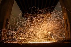 Steel Wool (Royal Hurlbert) Tags: longexposure urban wool night canon fire steel orb sphere spinning firespinning swirl sparks orbs fireball firespin spinfire steelwool paintingwithlights lightthenight wormholes photographyatnight canon7d lightjunkies spinwool steeljunkies steelwoolphotography lazyshutter lightpaighting