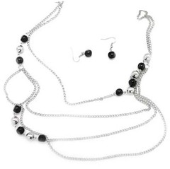 5th Avenue Black Necklace P2110-1