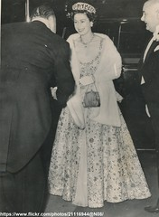 Royal Variety Show (romanbenedikhanson) Tags: 1958 eveninggown queenelizabeth royalfamily originalphoto britishroyalty longwhitegloves royalvariety royalcommandvariety