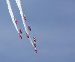 Red Arrows (Bernie Condon) Tags: tattoo plane flying team display hawk aircraft aviation military jet formation airshow arrows reds bae trainer redarrows raf aerobatic ffd fairford riat airtattoo rafat riat14