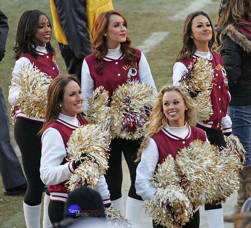 Redskinette Cheerleaders Latasha, Allison, Maigan, Rachel R., and Rachel K.