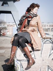 Hanneke, Amsterdam 2015: Effortless elegance (mdiepraam) Tags: portrait woman girl beautiful dutch amsterdam leather lady scarf docks hotel pretty industrial boots harbour crane gorgeous coat curls tights skirt redhead mature attractive elegant milf hanneke classy noord 2015 fortysomething ndsmwerf naturalglamour urbexglamour farlanda