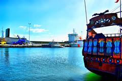 harbor (Mouin.M) Tags: travel blue sky mer color clouds port harbor boat fishing waves colours tunisia details bateau sousse peche tunisie seawater pche