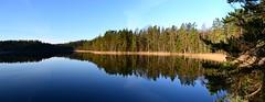 A panorama view west from the NE corner of Lake Kattilajrvi, Nuuksio national park, Espoo, 20111120 (RainoL) Tags: november autumn panorama lake reflection forest espoo finland geotagged nationalpark u fin stitched nuuksio uusimaa nyland 2011 esbo kattilajrvi 201111 20111120 lakesofnuuksio geo:lat=6030350800 geo:lon=2462175200