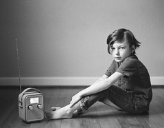 boy with radio (summerleephoto) Tags: boy portrait blackandwhite bw film childhood radio blackwhite child kodak trix