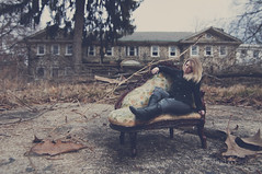 It's a big world out there... (findandseekcreative) Tags: winter woman building abandoned beautiful dead model decay exploring explore blonde urbex