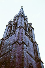 church of the covenant (alizeti) Tags: film church boston newburystreet pentaxk1000 analogue churchspire churchofthecovenant lomochromepurple