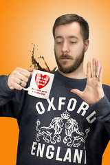 Colorful People (kranderson8) Tags: lighting slash portrait england people orange color coffee self kyle bag studio photography colorful you think jesus youre anderson oxford mug loves but spill douche