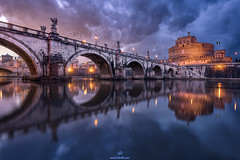 Beneath the Blue (Rilind Hoxha) Tags: world travel rome water architecture reflections river photography roman tiber destination sculptures destinations travelphotography