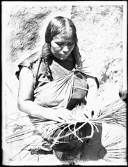 Hopi Indian woman basket maker, ca.1900 (CHS-3690)