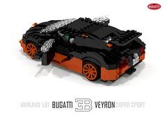 Bugatti Veyron Super Sport (lego911) Tags: world auto records car sport vw volkswagen model break lego lets render ss go some super turbo record 88 bugatti coupe supercar challenge holder cad w16 lugnuts 2010 veyron povray faster moc ldd miniland hypercar lego911 letsgobreaksomerecords