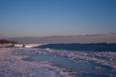 (Clarissa.S) Tags: pink blue winter sunset orange lake snow toronto ontario ice frozen purple