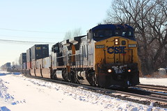 CSX in the bright sunlight. (cheliman) Tags: railroad ny tracks trains ripley pa ge westfield locomotives csx emd nickleplate