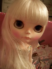 Floss........ (simplychictiques) Tags: ooakblythedoll customblythe jodiedollscustom airbrushfaceup grumpy pout blythewithwhitehairs cindysowersdress floss