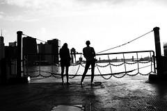 DSC_1213 (jeffreyjune16) Tags: bridge sky people blackandwhite building texture water ferry skyline architecture brooklyn clouds river pattern outdoor east financialdistrict wallstreet shape bnw governorisland
