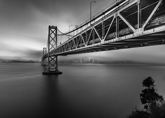 Karl is coming (Arjun Saha Photography) Tags: landscape karl baybridge fog bw cityscapes longexposure sanfrancisco blackandwhite bridge water bay architecture