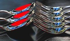 forks vs spoons (HansHolt) Tags: opposite spoon fork pastry vorkjes lepeltjes gebak metal metaal reflection reflectie dof macro canon 6d canoneos6d canonef100mmf28macrousm macromondays opposites hmm