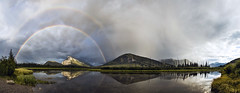 Rainbow over Mount Rundle (Charles Davis Smith - AIA | Photographer) Tags: panoramicphotography vermillionlakesanddoublerainbowbanff albertacanada banffnationalparkalberta canada nationalparkscanada canadianrockymountains rainbows doublerainbow mountrundel fineartphotography dallastexasarchitecturalphotographers charlesdavissmithphotographer charlesdavissmithaiaphotographer chucksmith dallasarchitecturalphotographers texasphotographers texasarchitecturalphotographer texasarchitecturalphotography banff alberta