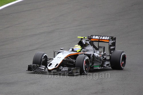 Sergio Perez in his Force India in Free Practice 3 at the 2016 British Grand Prix