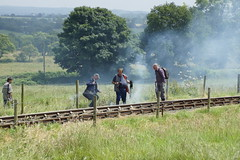 Fire! (gooey_lewy) Tags: train fire industrial board side engine rail railway loco steam line national engines gradient locomotive coal staffordshire gala atmospheric steep slog foxfield extinguish ncb lineside