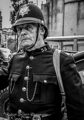 Policeman (Andrew Lancaster photography) Tags: police man black white portrait people forces war military darwen40sday20thaugustandmacro