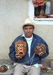 Zapotec Mask Maker Oaxaca Mexico (Ilhuicamina) Tags: masks mascaras oaxaca oaxacan mexican zapotec tavehua tigre jaguar huenche gente people hombre men