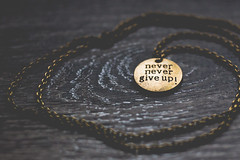 Round brass pendant with words never give up (Arina Borevich) Tags: diy accessory background backgrounds black bokeh chain circle color craft dark handmade horizontal jewelry pendant round texture textured wood wooden
