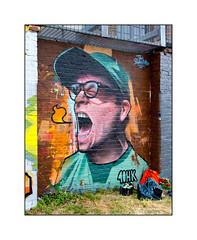 Graffiti (Inkfetish, 40HK), East London, England. (Joseph O'Malley64) Tags: tomblackford inkfetish 40hk graffiti streetart eastlondon eastend london england uk britain british greatbritain wall walls mural muralist wallmural brickwork pionting antitheft antiintruder wiremesh steelframework towpath canal weeds grass aerosol cans spray paint