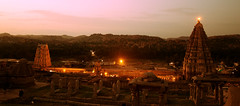 Sri Virupaksha Temple, Hampi, Karnataka (Amit Nadgeri) Tags: evening sunset monuments unisco hampi karnataka india historical vijayanagara empire lighting people virupaksha temple gopuram mountain beautiful colorful orange heritage site world
