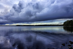 Evening blues (Joni Mansikka) Tags: nature autumn lake lakescape outdoor clouds water dark woods trees sky shore pyhjrvi ylne suomi finland