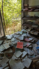 A Flood of Lost Knowledge (Sarah A Stewart) Tags: library pripyat chernobyl ukraine urbex abandonned books forest urban exploration school