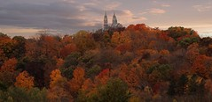 Autumn arrives in the early morning...... (Laura Rowan) Tags: autumn color morning early fall wisconsin holy hill holyhill overcast dark church