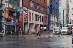 (  / Yorozuna) Tags:            shinjukugochome rain rainy umbrella human people    crosswalk crossroad city      red color    shinjuku  shinjukuward  tokyo japan pentaxsupertakumar50mmf14