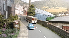 A Clever Backscene. (ManOfYorkshire) Tags: btmodels duple coach dominant treskilling treskillingecc model scale railway train layout morley 2016 show perspective modelling backscene oogauge 176 atmosphere seamless road clever expert expertly buildings added chinaclay ecc englishchineclay