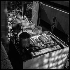two tanks (Vlocia) Tags: xenotar rollei newyork manhattan nyc midtown watertower watertank rooftop reflections film argentique tlr kodak tmax400 d76 11 pf5fix v750 rolleiflex