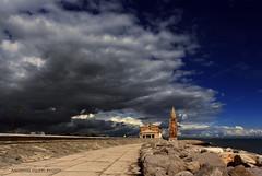 Caorle #1 (filippi antonio) Tags: caorle veneto italy italia paesaggio landscape paesaggiourbano cityscape nuvole clouds sky temporale storm blue chiesa church rocce scogli scogliera roch madonnadellangelo