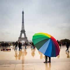 Rainy day in Paris (Zeeyolq Photography) Tags: eiffeltower colors france paris people rain toureiffel umbrella